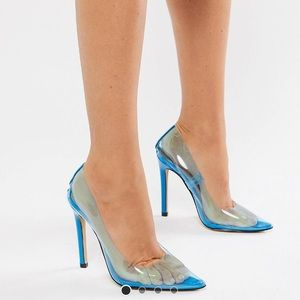 Public Desire Extra Clear Pumps in Blue With Box